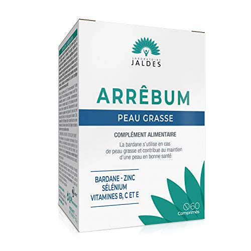 ARRÊBUM 60 Comprimés | Spécialement formulé pour les peaux grasses et cuirs chevelus gras, | Combinaison essentielle de vitamines, minéraux et extrait de plante