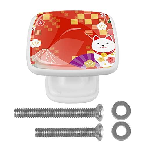 Perillas de armario de cocina con diseño de cuadros de gato Fuji, color rojo japonés, asas de armario de cristal, pomos de puerta para cajones de aparador