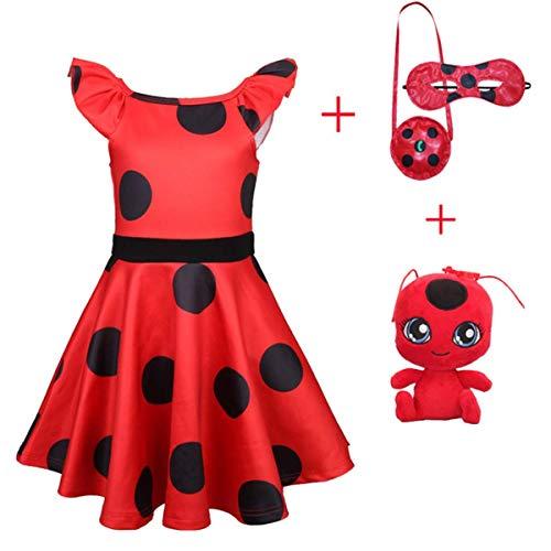 O.AMBW Lady Bug kostüm Kinder Ladybug Mädchen Marienkäfer Kostüm Kinder Halloween Karneval Overall Party Cosplay 3er Set