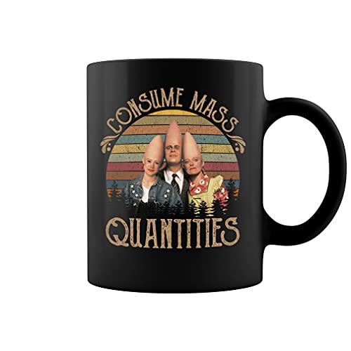 Consume Mass Quantities Taza de café de cerámica vintage (negro, 11 oz)