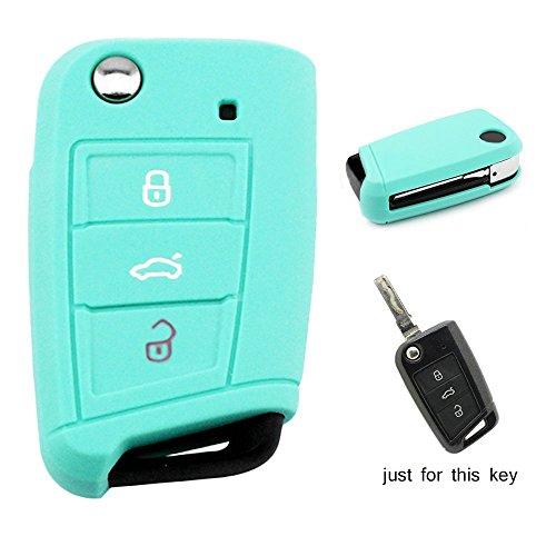 Carcasa de llave de Muchkey Funda de silicona para las llaves del coche de 3 botones, funda protectora, 1pieza, azul