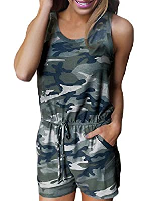 Auxo Women Short Romper Sleeveless Camo Sexy Cute Playsuit Summer Jumpsuit Jumper with Pockets Camouflage L
