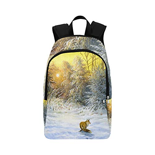Limiejo Mini Bookbags for Girls Natural Fox Oil Painting Green Leaf Durable Water Resistant Classic Hike Daypack Woman Travel Bag Best Daypack Hiking Canvas Bag