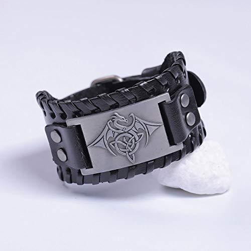 YQG lederen armband vliegende draak drie-eenheid knoop voor mannen gotische punk retro stijl runen lederen gevlochten armbanden vintage sieraden voor mannen