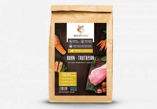 Wildfang® Hundefutter Trocken - 12kg - Getreidefreies Hundefutter - Huhn mit Truthahn | Ideal für Welpen und Junge Hunde