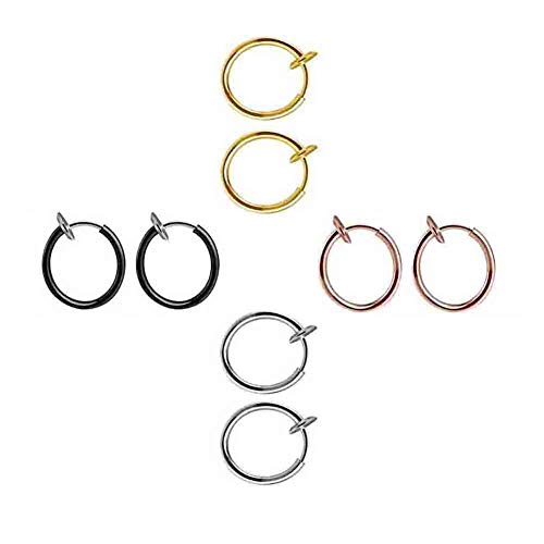 4 Pairs Retractable Earrings No Need Piercing Men Women Classic Hip-hop Style Hoop Earrings