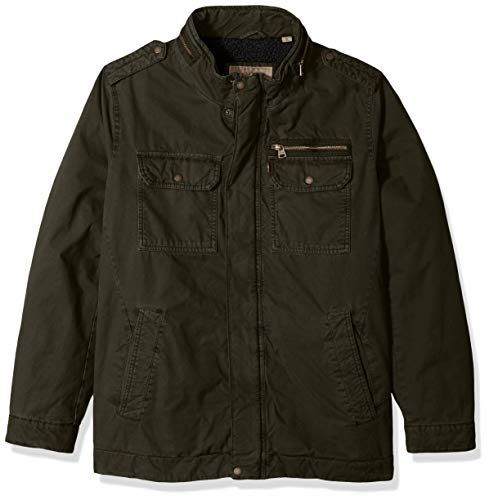 Levi's Men's Big Washed Cotton Two Pocket Sherpa Military Jacket, Dark Olive, 3X-Large Tall