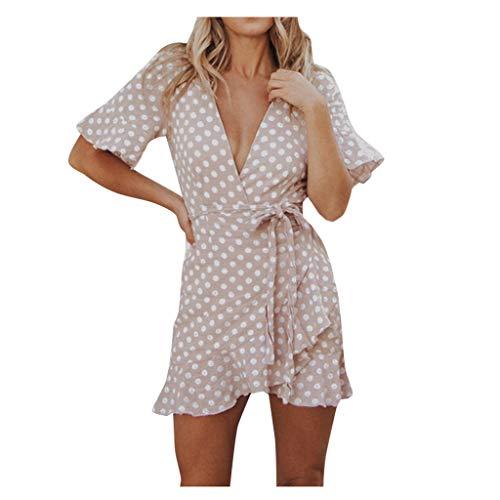 manadlian Robe Été 2020 Femme Chic Robe de Soirée Sexy Élégante Femme Col Deep V Mini Robe Dress sans Manches Robe de Plage Dress à Ceinture Elégant Robe de Clubbin