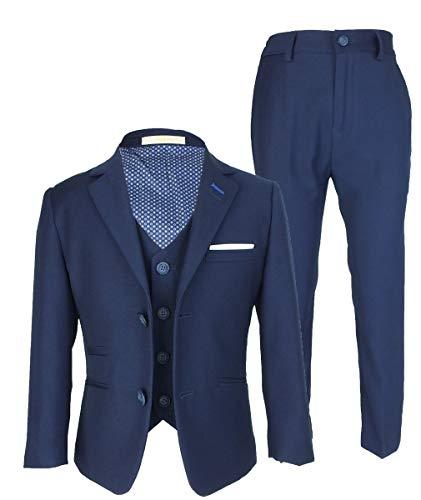 Jefferson Designer Cavani Slim Fit Hochzeitsanzug für Jungen 3 Stück Navy Blau 15 Jahre