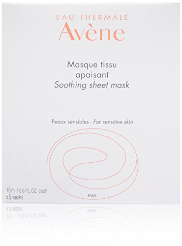 Eau Thermale Avene Soothing Sheet Mask, Full Face Moisturizing Cooling Facial Mask, Biodegradable, 5 Count