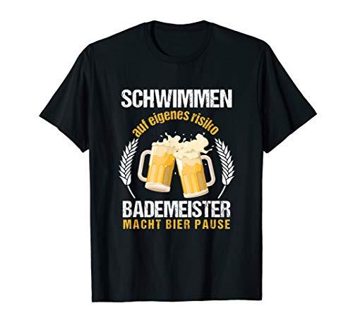 Bademeister Bier Schwimmen Baden Rettungsschwimmer Geschenk T-Shirt