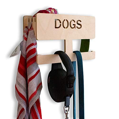 INEXTERIOR Garderobe für Hundeleinen - aus Holz - mit großer Ablage - in Deutschland gefertigt - mit Spender für Hundekotbeutel und Haken für Handtücher - Hundegarderobe