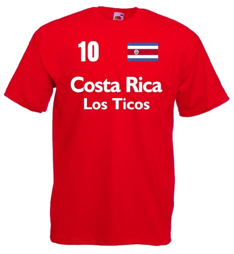 World-of-Shirt Herren T-Shirt Costa Rica Los Ticos Trikot|r-s