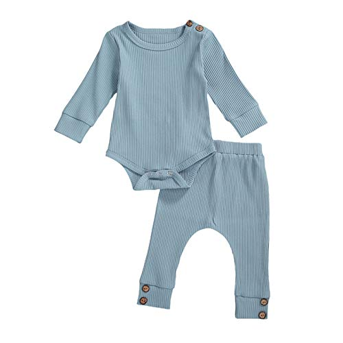 YQYJA Conjunto de ropa de verano para recién nacidos de color sólido acanalado de punto de manga larga Tops pantalones
