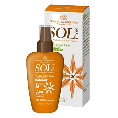 SOL LEON – Crème solaire SPF 30 – 150 ml – Haute protection UVA-UVB, résistant à l'eau, distributeur pratique en spray, doux pour la peau