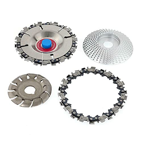 Keelia-Keely 4 Pieces Angle Grinder Wood Carving Disc 12 Teeth Wood Carving Disc Angle Grinder Accessories Sanding Tools for Wood Cutting Polishing Shapes