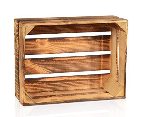 CHICCIE Geflammte Obstkisten - 38cm x 28cm Holzkisten Weinkisten Holz Kisten Apfelkisten Obstkiste Gebrannt