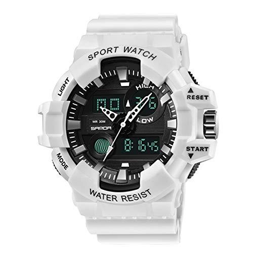 Relojes de los Hombres, Allskid Deportes Impermeable Noctilucente Multifuncional Al Aire Libre Militar Analógico Digital Relojes de Pulsera (48mm, Blanco)