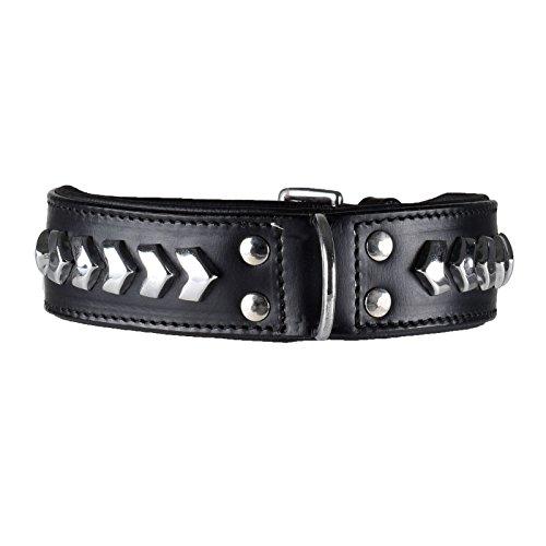 Mad Dog deLuxe leer luxe hondenhalsband Black Star MadDog Deluxe hondenhalsband maat L, zwart
