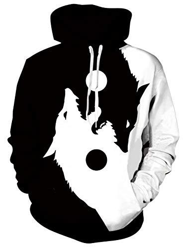 TUONROAD Hoodie Hombre Funny 3D Lobo Sudaderas con Capucha Ligero Unisex Sweatshirt Manga Larga Sweater Hoody con Bolsillos Cordón M