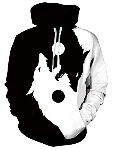 Loveternal Mens Womens 3D Wolf Hoodies Sport Boys Graphic Sweatshirts Teens Womens Cool Big and Tall Ying Yang Hoodies with Drawstring Black and White XXL