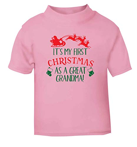 Flox Creative T-Shirt pour bébé Inscription First Christmas Great Grandma Noir - Rose - 2-3 Ans