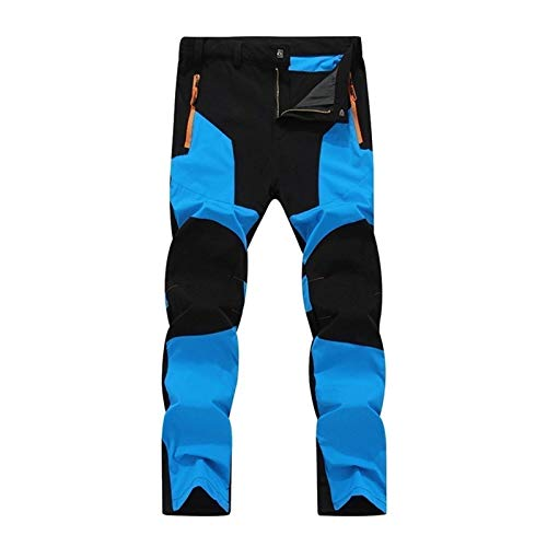 Men hiking pants jogging mountain pants sport ski pants trekking pants windproof warm waterproof cross country pants for hunting, trekking and cycling (Color : Blue, Size : 4XL)