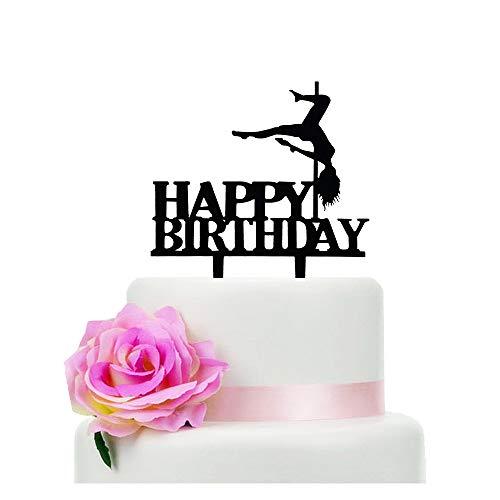 Black Acrylic Pole Dancer Happy Birthday Cake Topper, Birthday Party Cake Decoration, Sports Theme Cake Topper (Pole Dancer)
