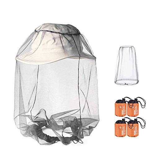 PHOGARY 4 Pack Mosquito Head Net, Red del Repelente de Insectos, Red de Sombreros con mosquitero Gary Anti Mosquito