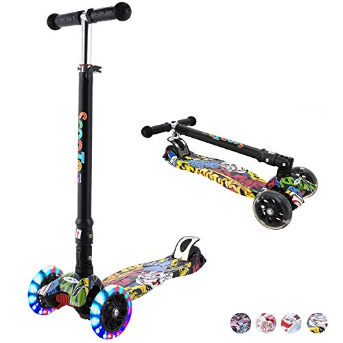 Hikole Scooter for Kids, Foldable Scooter for Toddlers Girls & Boys with LED Light Up Scooters Wheels, Adjustable Height Scooter for Children Ages 4-12