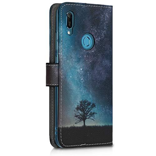 kwmobile Huawei Y6 (2019) Hülle - Kunstleder Wallet Case für Huawei Y6 (2019) mit Kartenfächern und Stand - Galaxie Baum Wiese Design Blau Grau Schwarz - 3