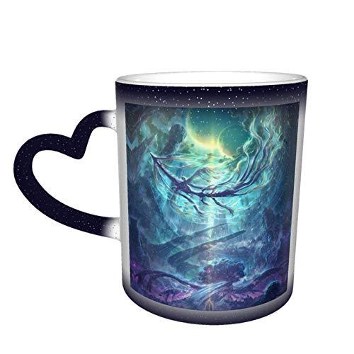 Taza de cerámica sensible al calor que cambia de color, tazas de café Dragon, taza de taza que cambia de color de cielo estrellado, sorpresa de cumpleaños para niños y niñas, 11 oz-MQM