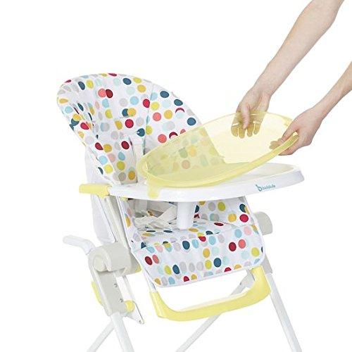 Badabulle Chaise Haute Jaune Compacte et Multipositions pour Bébé