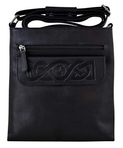 Lee River Goods Co - Celtic Leather Mary Crossbody Bag (Black)