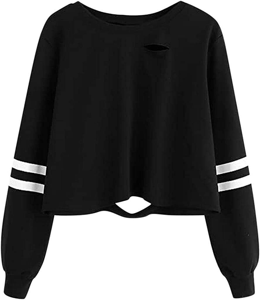 Crop Tops for Women Trendy, Women Color Striped Hoodies Pullover Hoodies Teen Girls Crop Tops Cropped Sweater Shirts