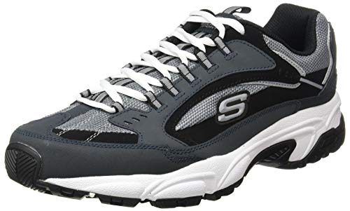 Skechers Men's STAMINA CUTBACK Trainers, Blue (Navy & Black Leather/Charcoal Mesh Nvbk), 8 (42 EU)