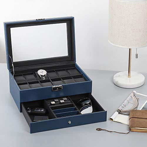 JS NOVA JUNS Watch Box, 12 Slots PU Leather Case Organizer with Jewelry Drawer for Storage and Display