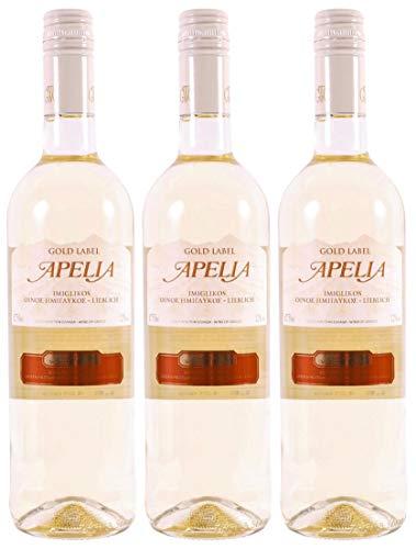 3x 0,75l Apelia Gold Label | Lieblicher Weißwein| Imiglykos | 11,5% Vol. | Kourtaki | + 1 x 20ml Olivenöl