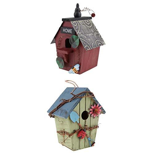 joyMerit 2 Stücke Vintage Vogelhaus/Nistkasten/Nisthöhle für Rotschwanz, Landhaus Stil