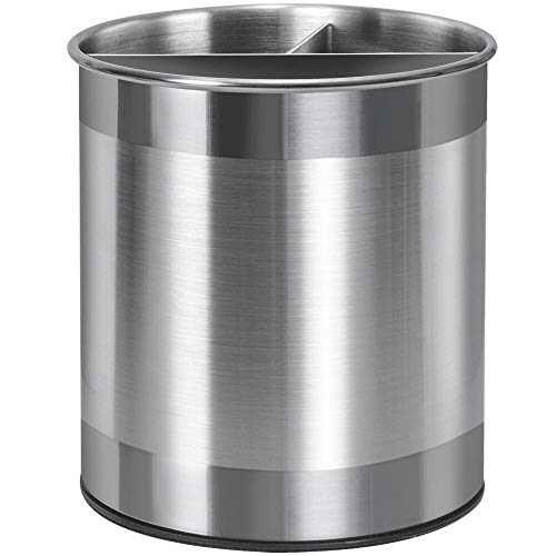 Nieifi Stainless Steel Utensil Holder with Removable Divider 360° Rotating Countertop Utensil Caddy Organizer with Weighted Base for StabilityUtensils Are Not Included Extra Large