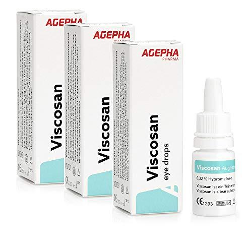 Viscosan Augentropfen mit Hypromellose I Langanhaltend gegen Trockene, Geschwollene, Müde Augen und Augenbrennen I Tränenersatzmittel von AGEPHA 3x10ml