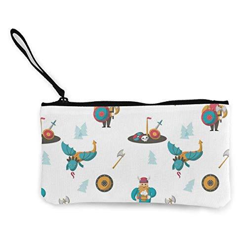 Vikingos y dragones Hombres y mujeres Lindo monedero de lona con personalidad de moda con cremallera Bolsa de maquillaje con correa para la muñeca Bolsa de teléfono de efectivo 8.5 X 4.5 pulga