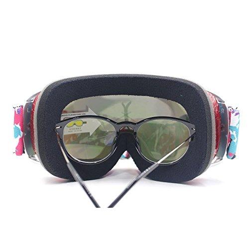 VILISUNスキーゴーグルスノボゴーグルメガネ対応UV400曇り止めダブルレンズ球面スノーボードゴーグル3層スポンジ軽量通気耐衝撃/防塵/防風/防雪ヘルメット対応スノーボードスキー・登山・アウトドア子供大人(レッド)