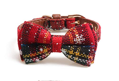 fafagogo2216gogo Collar De Perromascotas Collares para Perros Correas Conjunto Copo De Nieve Collar Bowknot Bulldog De Cuero Collar Mediano para Perros Pequeños Bufanda Baberos, Cuello Rojo, S