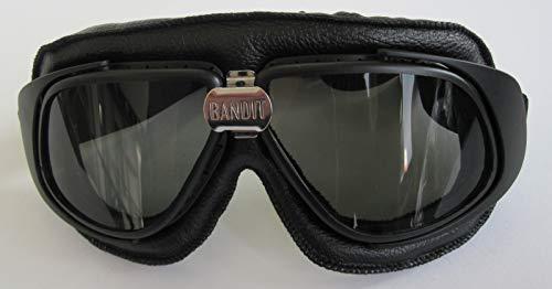 Occhiali Neri Goggle Bandit Classic Aviator Old Style Lenti Fumè Smoke Moto Harley e Custom