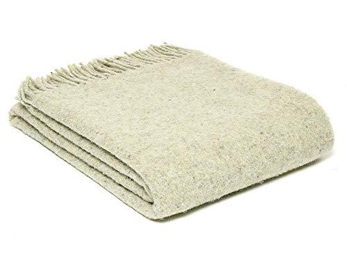 Tweedmill Textiles Decke/Überwurf aus recycelter Wolle, diagonale Streifen, naturfarben, hergestellt in Großbritannien