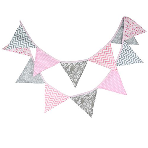 Prosperveil 10.5ft Bunting Banner Flags Fabric Floral Geometric Pattern Triangle Flag Pennant Garland for Bedroom Indoor Outdoor Party Decorations (Pink and Grey)