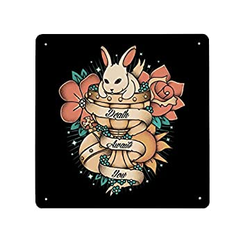 Rabbit Of Caebannog Monty Python And The Holy Grail Tattoo Style Tin Sign Metal Iron Wall Painting Sign Retro Porch Hanging Warning Sign House Wall Decoration Signboard