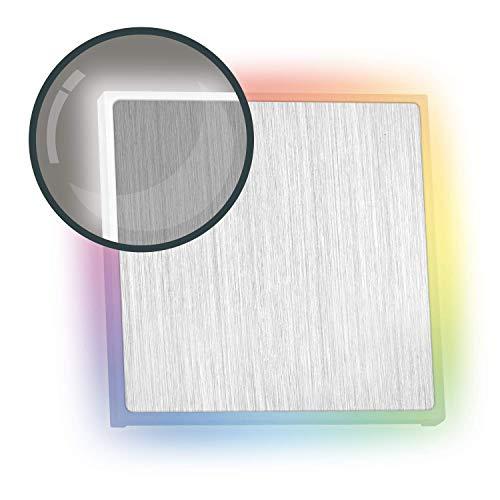 RGB LED Treppenbeleuchtung EDGE aus Aluminium - Eckig - Für Schalterdoseneinbau 60/68mm - 11 Farben + Kaltweiß - Farbe aluminium [Stufenbeleuchtung - Wandbeleuchtung - indirekt]