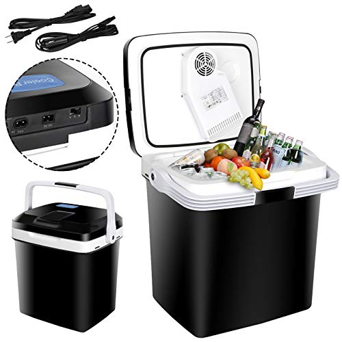SUPER DEAL Pro 28 Qt Portable Ice Cooler and Warmer ElectricIce Chest Mini Thermoelectric Dual Cooling Warming Plug in Car Refrigerator for Camping, Fishing, Work Beach Picnic
